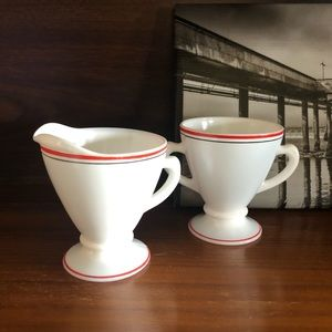 Vintage White Red Milk Glass Sugar and Creamer Set